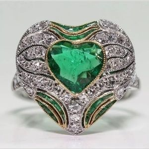 Silver Heart Shaped White Topaz and Emerald Ring.